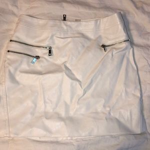 Faux Leather White Skirt
